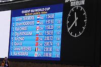 SCHAATSEN: BERLIJN: Sportforum, 07-12-2013, Essent ISU World Cup, podium 1500m Ladies Division B, final results, Jorien Voorhuis (NED), Jorien ter Mors (NED), Kali Christ (CAN), ©foto Martin de Jong