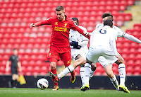 LIVERPOOL, ENGLAND - Easter Monday, April 1, 2013: Liverpool's Kristoffer Peterson in action against Tottenham Hotspur during the Under 21 FA Premier League match at Anfield. (Pic by David Rawcliffe/Propaganda)