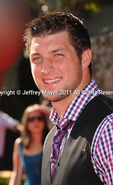 LOS ANGELES, CA - JULY 13: Tim Tebow arrives at the 2011 ESPY Awards at Nokia Theatre L.A. Live on July 13, 2011 in Los Angeles, California.