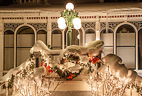"""Christmas Wreath in Truckee"" - Photograph of a snow covered Christmas wreath and lights in Downtown Truckee, California."