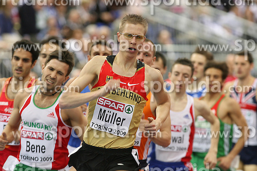 Wolfram Muller of Germany leading the first group in the qualification race at 1500m men at the 2nd day of  European Athletics Indoor Championships Torino 2009 (6th - 8th March), at Oval Lingotto Stadium,  Torino, Italy, on March 6, 2009. (Photo by Vid Ponikvar / Sportida)