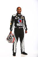 Jan 13, 2016; Brownsburg, IN, USA; NHRA top fuel driver Antron Brown poses for a photo during a portrait shoot at Don Schumacher Racing. Mandatory Credit: Mark J. Rebilas-USA TODAY Sports