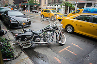 A Harley-Davidson motorcycle parked in New York on Sunday, June 5, 2016. (©Richard B. Levine)