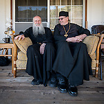 Father Moheen Hannah and Father James visit after First Monastic Liturgy, St. Silhouan Monastery, Columbia, California.