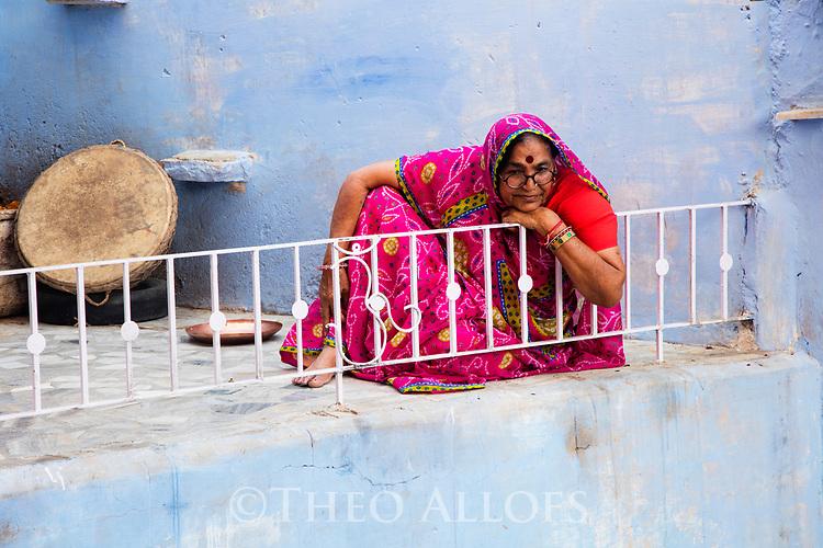 India, Jodhpur, Blue City, Historical City, Rajasthani woman in red saree