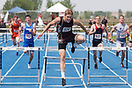 Rigby senior Scott Mecham leads the field (L to R: Kendall Lindley, Ryan Wakley, Scott Mecham, Colton Belnap, Walker Jeffords) on his way to setting a new 4A classification record in the 300 meter hurdles during the 4A Idaho Track and Field Championships on May 19, 2012 at Middleton High School, Middleton, Idaho. Meacham's winning time (37.82) eclipsed  Post Fall's Stephen Ward's 2002 time of 38.51. Borah's AJ Boully set the overall state meet record in 2010 with a time of 37.74.