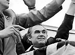 45th Governor of Alabama George Wallace running for US President as a Democrat ducts rotten tomatos in Maryland campaigning before a 1972 assassination attempt,