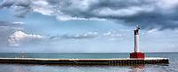 The Oakville lighthouse pier against an interesting sky
