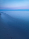 Calm tranquil twilight scenery of lake Huron, Ontario, Canada.