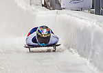 8 January 2016: Olga Potylitsina, competing for Russia, crosses the finish line on her first run of the BMW IBSF World Cup Skeleton race at the Olympic Sports Track in Lake Placid, New York, USA. Mandatory Credit: Ed Wolfstein Photo *** RAW (NEF) Image File Available ***