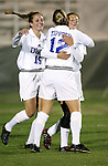 Duke's Darby Kroyer (r) celebrates her fifth minute goal with teammates Lauren Tippets (12) and Sarah McCabe (15) on Wednesday, November 2nd, 2005 at SAS Stadium in Cary, North Carolina. The Duke University Blue Devils defeated the Boston College Eagles 2-0 during their Atlantic Coast Conference Tournament Quarterfinal game.