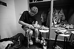 2013 May 25: Kyle Turri #1 of the Duke Blue Devils laces his shoes before playing the Cornell Big Red 16-14 in the NCAA semifinals at Lincoln Financial Field in Philadelphia, PA.