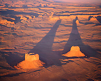 Aerial View of Los Gigantes Buttes at Sunset, Lukachukai  Mountains, Navajo Reservation, Arizona