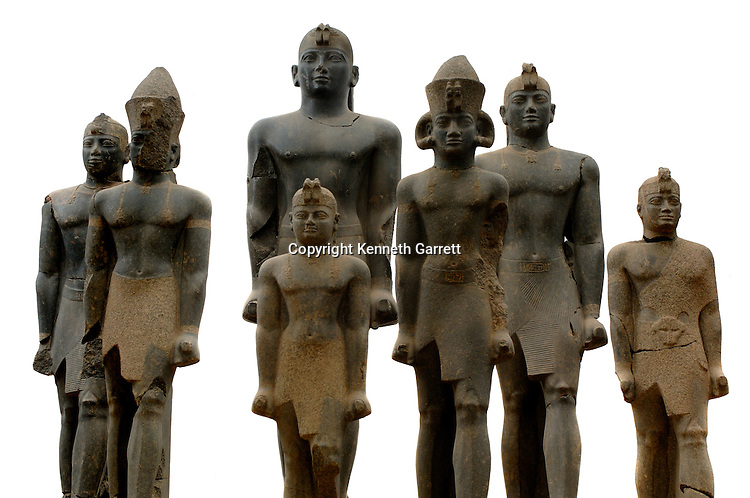 Statues of Nubian Pharaohs, Kerma Statues, Pharaohs Taharka (largest) and Aspelta (smallest), 25th Dynasty, Beheaded by conquerors, found by Charles Bonnet, 2004?,Black Pharaohs, Nubians, Sudan, Kerma, Late Period