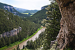 A view from the cliffs high above the Smith River in Montana