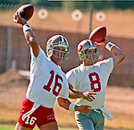 San Francisco 49ers training camp July 26, 1990 at Sierra College, Rocklin, California.  San Francisco 49ers quarterback Joe Montana (16) and  quarterback Steve Young (8).