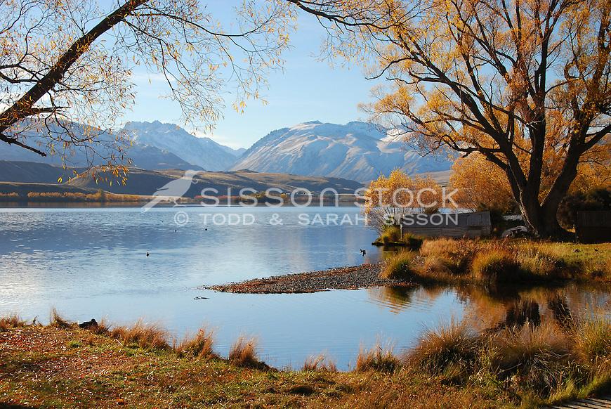 A calm and tranquil autumn afternoon at Lake Alexandrina near Lake Tekapo.