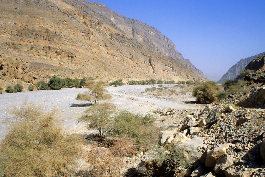 Wadi Bani Kharus, Oman, Arabian Peninsula, Middle East - One of the many dry water courses leading into the mountains of interior Oman.