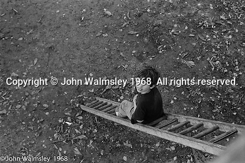 Spending time on a ladder, Summerhill school, Leiston, Suffolk, UK. 1968.