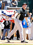21 May 2007:  Toronto Blue Jays infielder Lyle Overbay watches the ball sail over the outfield fences in the pre-game Home Run Derby at Doubleday Field prior to Baseball's Annual Hall of Fame Game in Cooperstown, NY. The Baltimore Orioles defeated the Toronto Blue Jays 13-7...Mandatory Credit: Ed Wolfstein Photo