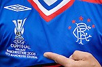 Mark Hateley with the Rangers UEFA Cup Final shirt