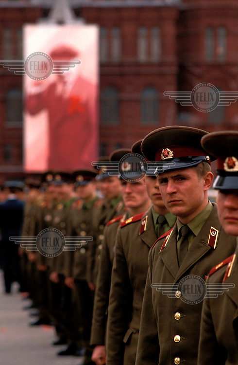 © Paul Lowe / Panos Pictures..Moscow, RUSSIA. 09/05/1990...Soldiers at the Victory Day parade, an annual event marking the anniversary of the Soviet victory over Germany in 1945.