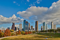 We captured this skyline of the city of Houston with the reds and orange colors of fall in the trees along the bayou with  a beautiful blue sky on this pleasant fall day in a downtown park.  People were out doing all kinds of exercising from riding bikes to walking on the trails along the bayou to playing a game of soccer or volley ball and just enjoying the view.  Houston has an impressive skyline with some of the tallest skyscapers in the south United States.