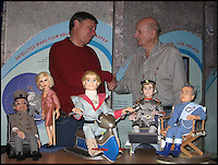 BNPS.co.uk (01202 558833)<br /> Pic: DuncanWillis/BNPS<br /> <br /> Duncan Willis with Gerry Anderson the creator of Thunderbirds.<br /> <br /> A Thunderbirds fanatic who always dreamt of owning an original Parker puppet now earns a living making them for fellow fans.<br /> <br /> Duncan Willis, 59, made his first puppet 15 years ago and his hobby has grown into a business where he creates puppets of the show's best-loved characters including Parker, Lady Penelope and Jeff Tracy. <br /> <br /> Mr Willis makes and sells about 20 Thunderbirds puppets a year at his home in Whiteley, Hampshire, together with elaborate props for them because he doesn't want them to be stood 'with a rod up their backside'. <br /> <br /> The puppets, which measure between 19 and 23in, take him four to six weeks to craft and cost in the region of &pound;900.