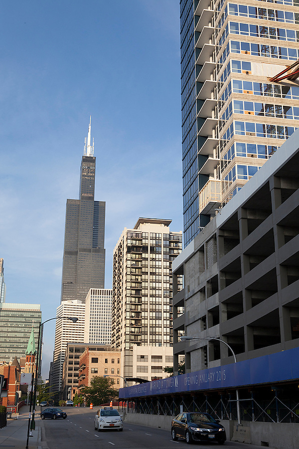The Willis Tower (formerly the Sears Tower) as seen from Greektown, Chicago, Illinois, USA