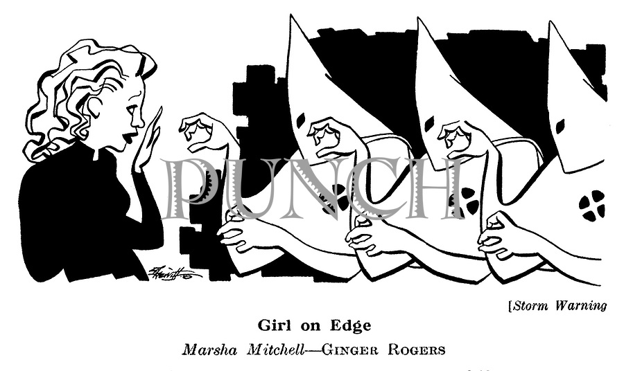Punch cartoons by Robert Sherriffs..Film Review ; ..Storm Warning ; Ginger Rogers