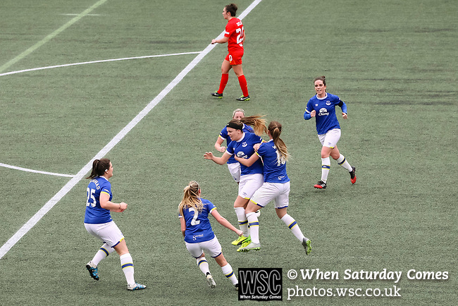 Liverpool Ladies 2 Everton Ladies 1, 19/03/2017. Select Security Stadium, SSE FA Cup Fifth Round. Everton's Simone Magill scores the equalising goal during the game between Liverpool Ladies v Everton Ladies at The Select Security Stadium, Widnes, in the Women's SSE FA Cup Fifth Round. Photo by Paul Thompson.