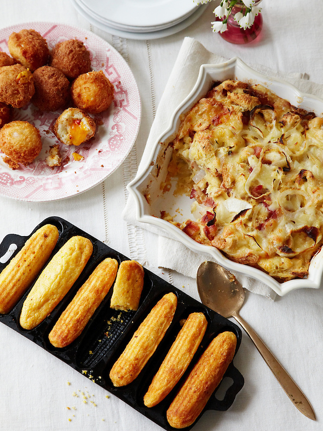 Buttermilk Hushpuppies Stuffed with Pimento Cheese, Cornbread Sticks, Around The Southern Table Cookbook by Rebecca Lang