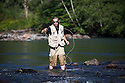 WA09151-00...WASHINGTON - Fly fishing on the Middle Fork of the Snoqualme River near North Bend. (MR# J9)
