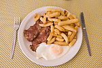 Full English traditional breakfast Bacon Egg and Chips Regency cafe. London UK