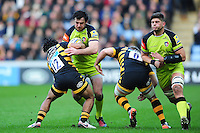 Matt Smith of Leicester Tigers takes on the Wasps defence. Aviva Premiership match, between Wasps and Leicester Tigers on January 8, 2017 at the Ricoh Arena in Coventry, England. Photo by: Patrick Khachfe / JMP