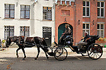 Europe, Belgium, Brugges. Horse-drawn carriage of Brugges.