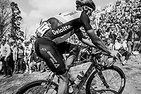 Jay Robert Thomson (ZAF/Dimension Data) up the infamous Muur van Geraardsbergen (1100m/7.6%) that is back in the parcours after a 5 year hiatus<br /> <br /> 101th Ronde Van Vlaanderen 2017 (1.UWT)<br /> 1day race: Antwerp &rsaquo; Oudenaarde - BEL (260km)