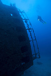 Grand Bahama Island, The Bahamas; a scuba diver hovers over the conning tower of Theo's Wreck, emerging from the deep blue, resting on it's port side this two hundred and thirty foot freighter, was intentionally cleaned and scuttled by Theo Galanopoulos in 1982 and sits in 100 feet of water