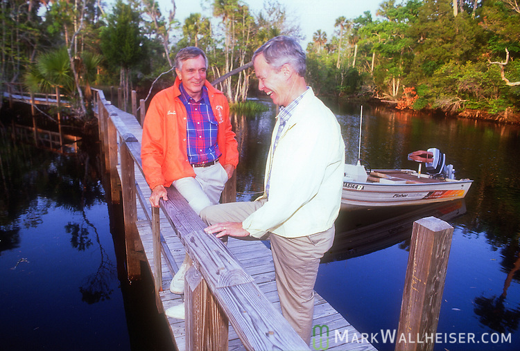 Lawton Chiles, with his soon to be running mate Buddy MacKay, during a planning session at the Econfina Fish Camp on April 18, 1990, prior to his first run for Governor for Florida.Lawton Chiles with his soon to be running mate Buddy MacKay during a planning session at the Econfina Fish Camp on April 18, 1990, prior to his first run for Governor for Florida.
