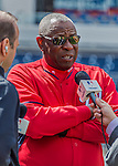 7 April 2016: Washington Nationals Manager Dusty Baker chats with the media prior to their Home Opening Game against the Miami Marlins at Nationals Park in Washington, DC. The Marlins defeated the Nationals 6-4 in their first meeting of the 2016 MLB season. Mandatory Credit: Ed Wolfstein Photo *** RAW (NEF) Image File Available ***