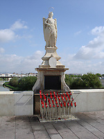 St Rafael sculpture, Roman Bridge, Cordoba, Spain. This angel was considered one of the protector of the city.