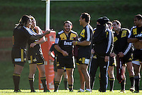 Ma'a Nonu (left) jokes with teammates at training. Super 15 rugby union Hurricanes training at Rugby League Park, Wellington, New Zealand on Thursday 16 June 2011. Photo: Dave Lintott / lintottphoto.co.nz