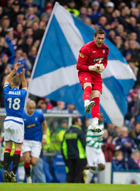 Under-fire Rangers goalkeeper Allan McGregor roars as he enters the field ahead of the Old Firm derby
