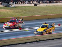 Oct 16, 2016; Ennis, TX, USA; NHRA funny car driver Del Worsham (right) alongside Chad Head during the Fall Nationals at Texas Motorplex. Mandatory Credit: Mark J. Rebilas-USA TODAY Sports