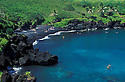 Black sand beach at Wainapanapa State Park, Hana Coast, Maui, Hawaii.
