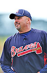6 March 2012: Atlanta Braves Manager Fredi Gonzalez watches over batting practice prior to a Spring Training game against the Washington Nationals at Champion Park in Disney's Wide World of Sports Complex, Orlando, Florida. The Nationals defeated the Braves 5-2 in Grapefruit League action. Mandatory Credit: Ed Wolfstein Photo