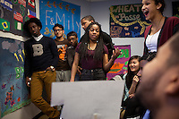 Members of the Babsou Posse 11, during small group activities at the Posse Foundation in New York, NY on April 01, 2014. Students in the Posse Foundation are chosen as scholars and go through college prep together as seniors in high school then attend the same college campus together where they get ongoing support. The Posse Foundation has identified, recruited and trained 5,544 public high school students with extraordinary academic and leadership potential to become Posse Scholars over the past 25 years.