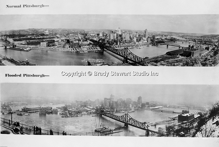 Pittsburgh PA:  Photograph of the City of Pittsburgh Flooded versus normal conditions.  The panorama shows the view of Pittsburgh during the 1936 flood versus a panorama during a normal day.
