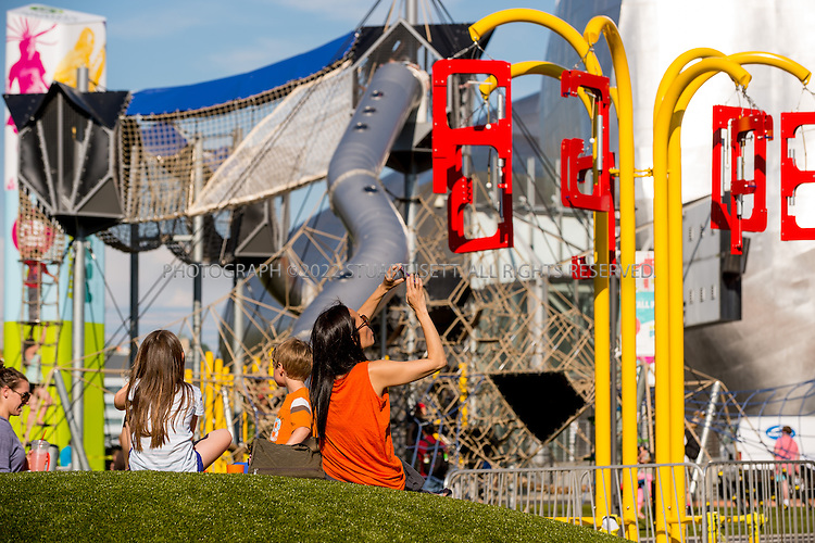 5/29/2015&mdash;Seattle, WA<br /> <br /> Artists at Play - Seattle Center - an imaginative, artists-created outdoor playground.<br /> <br /> A 35-foot Climbing Tower, colorful Labyrinth, ADA-accessible Carousel, child-inspired musical instruments, listening stations, sound swings, play mounds, and &quot;story lines&quot; offer child-friendly amusement in keeping with the mission and purpose of Seattle Center.&nbsp;<br /> <br /> Photograph by Stuart Isett<br /> &copy;2014 Stuart Isett. All rights reserved.