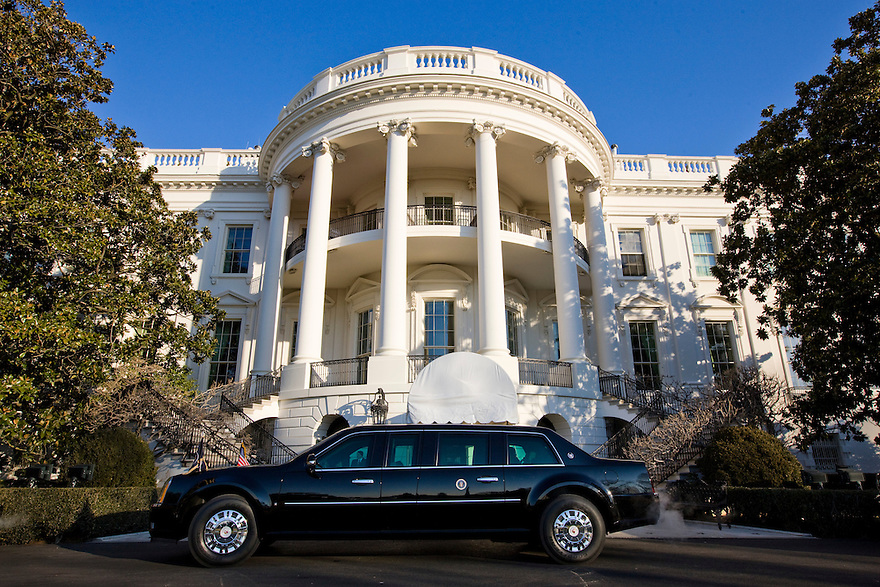 The brand new presidential limousine sits on the South driveway of the White House in Washington, DC. ..Photo by Brooks Kraft/Corbis........
